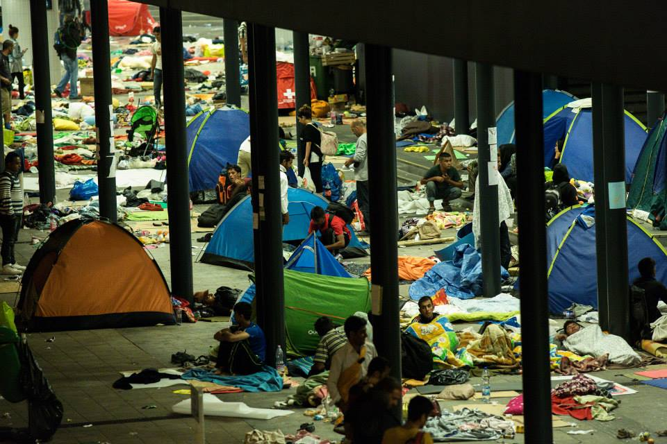Refugees at Keleti Railway station in Hungary