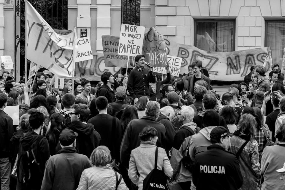 Student protests at the University of Warsaw, May 2015. Photo Uniwersytet Zaangażowany.