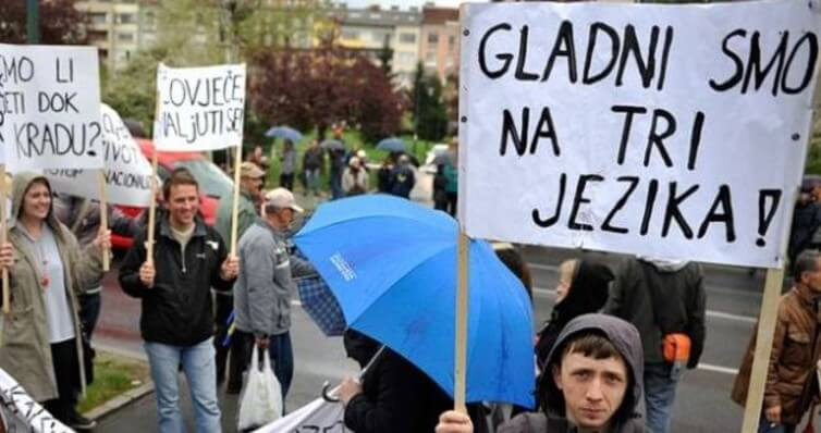 'We are hungry in three languages', a famous slogan in 2014 during protests in Bosnia. Photo by: Midhat Poturovic