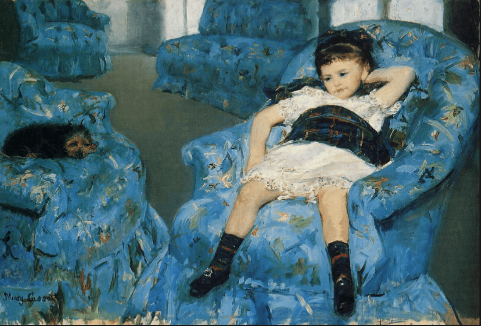Mary Cassatt (1878), Young girl on a blue armchair, National Gallery of Art  Washington D.C.