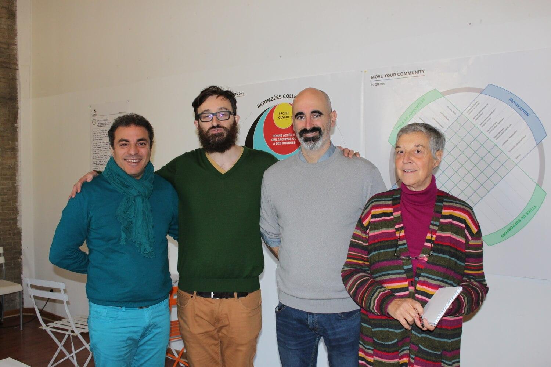 am Khebizi (director of Les Têtes de l'art), Olivier Schulbaum & Enric Senabre (co-founder of Platoniq-Goteo), Huguette Bonomi (president of Les Têtes de l'art)